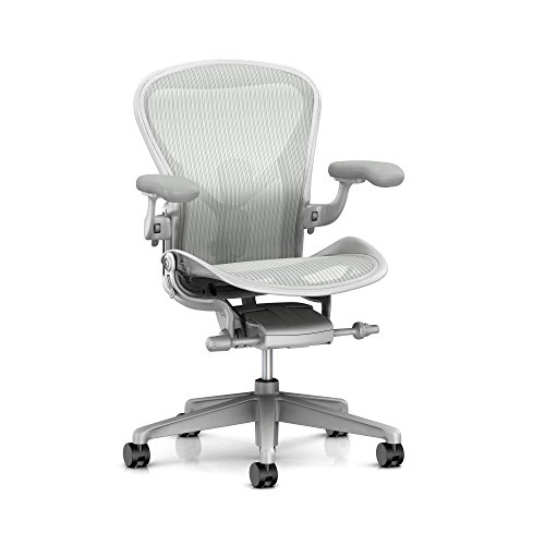Herman Miller Aeron Ergonomic Office Chair with Tilt Limiter and Seat Angle | Adjustable PostureFit SL, Arms, and Carpet Casters | Large Size C with Mineral/Satin Aluminum Finish