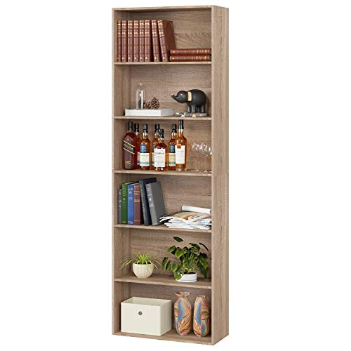 Homfa 180 cm Bücherregal Standregal Büroregal Holzregal Raumteiler Regalsystem Aktenregal Ordnerregal CD DVD Regal Küchenregal 6 fächer helleiche