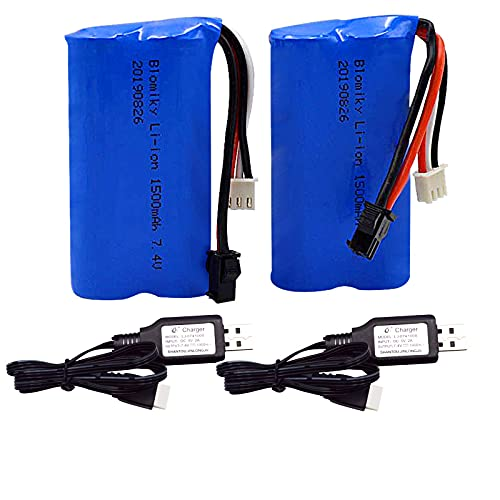 Blomiky 2 Pack H101 7.4V 2S 15C 1500mAh Battery with SM 2P Plug and USB Charger Cable for H105 H103 H101 Remote Control RC Boat H101 Battery and USB 2