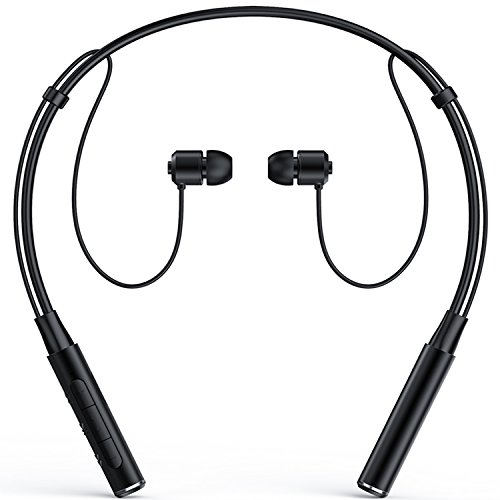 Bluetooth Headphones, Senbowe™ Wireless Neckband Bluetooth Headset V4.1 Stereo Noise Cancelling Sweatproof Sports Earbuds/Earphone with Mic, Magnet Attraction(Black)