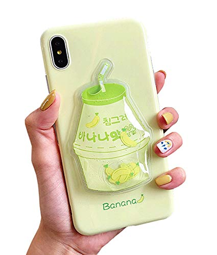 UnnFiko Squishy Liquid Fruit Case Compatible with iPhone X/iPhone Xs, Creative Milk-Shaped Funny Play Case Soft Protective Cover (Banana, iPhone X/Xs)