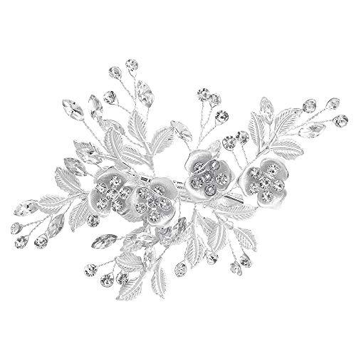 Hochzeit Haarspange Strass Braut Kopfstücke Haarspange, handgemachte Blume Haarspange Haarschmuck für Frauen (Silber)