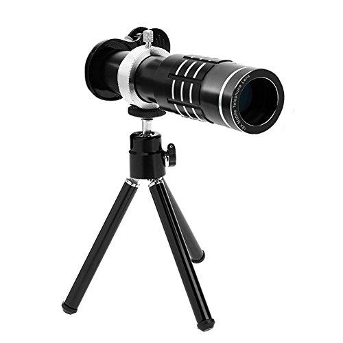prettygood7 18X Zoom Telefoon Telescoop Telelens Camera Lens+Statief Lens Cover, Zwart