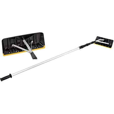 HAPPYGRILL 21 Feet Adjustable Roof Snow Rake with Large Blade Telescoping Scratch-Free Roof Snow Removal Tool