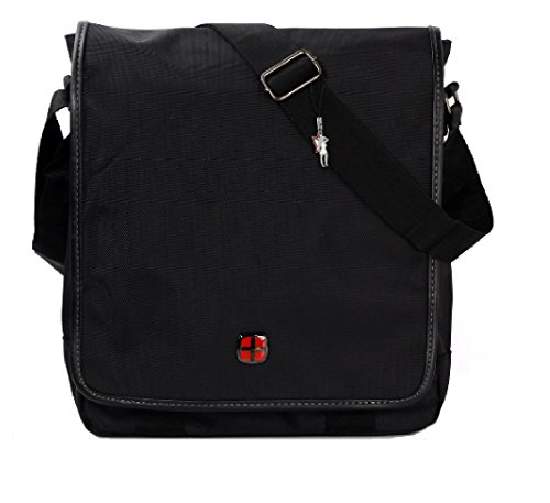 Herren Schultertasche Umschlagtasche Notebooktasche Tasche schwarz Polyester