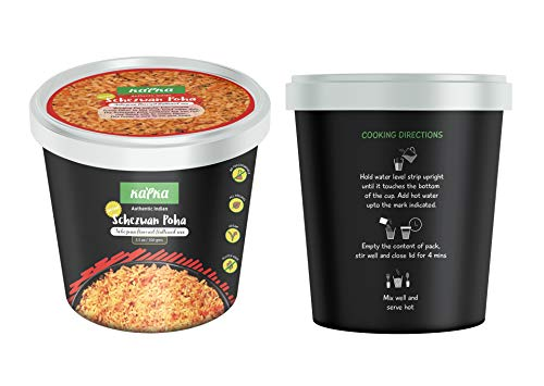 """Kapka """"Schezwan Poha Cups"""" Vegan, Gluten Free, Ready to Eat - All Natural, 100% Vegan & Vegetarian, Non GMO, Authentic Indian Food, Pack of 5 (3.5oz/100gms Each)"""