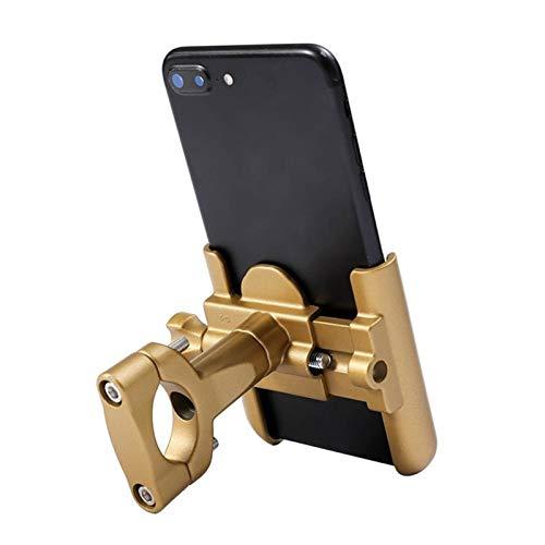 Estable Soporte de teléfono móvil de la Motocicleta Tenedor de teléfono Universal 360 ° Rotación Metal Motocicleta GPS Soporte Soporte móvil Soporte portamovil (Color : Gold)