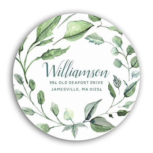 """Personalized Customized Labels Tags,Customizable Stickers Sage Green White Botanical Return Address Label for Business Custom Made Stickers, 100 Stickers2X2"""""""