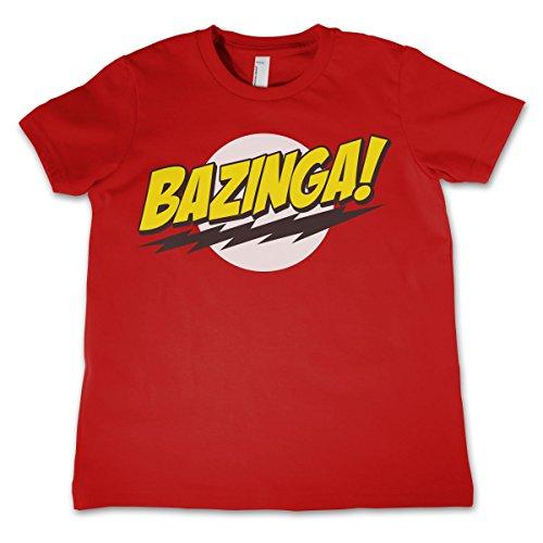 The Big Bang Theory Mercancía con Licencia Oficial Bazinga Super Logo La Camiseta del Niño Unisexo - Rojo 7/8 Años