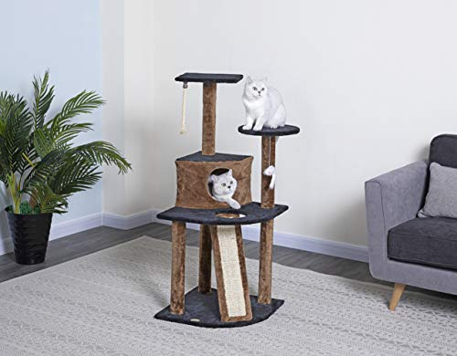 Small Cat Kitten Tree With Scratching Ramp Condo Perch