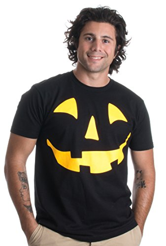 Glow in The Dark Jack O' Lantern Face | Halloween Pumpkin Costume Unisex T-Shirt-(Adult,2XL) Black