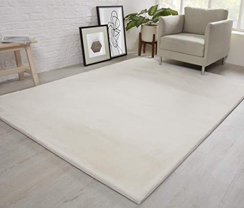 NATURAL FAUX RABBIT FUR Rug Ultra Soft Plush Extra Large Animal Rugs Living Room Wool Shaggy Fluffy 26mm Thick Pile Height Modern Area Rugs - (Cream Ivory, 200cm x 290cm (6.6ft x 9.5ft))