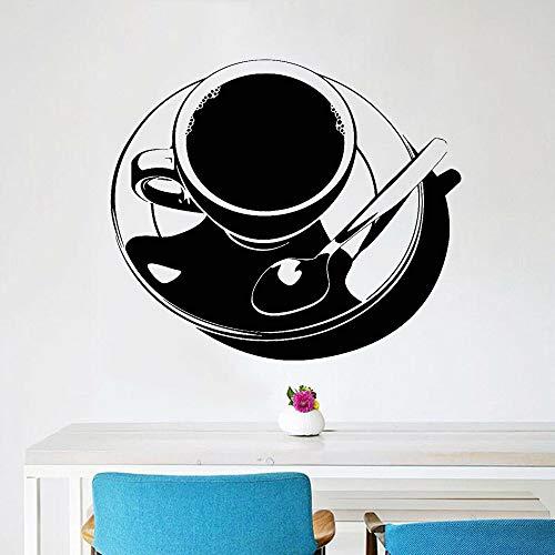 JXWR Tee Wandaufkleber für Coffeeshop Café Tasse Vinyl Wandtattoo Küche Abendessen Wohnzimmer Hauptdekoration einfachen Stil 74x85cm
