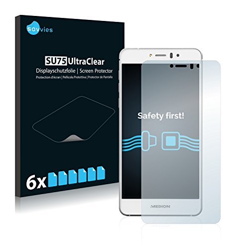 Savvies 6X Schutzfolie kompatibel mit Medion Life X5020 (MD 99367) Bildschirmschutz-Folie Ultra-transparent