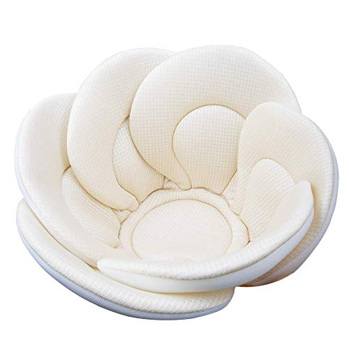 Baby Bath Cushion Sink Bather, Soft Quick Drying Bathtub Mat for Infant Bathing Tub Seat Support,Machine Washable,6-Petal Flower (Cream Flower)