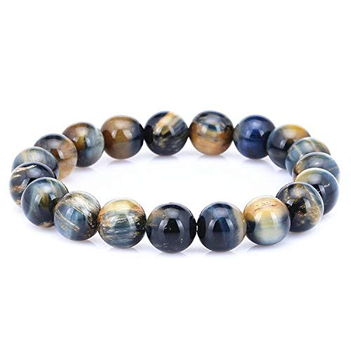 12mm Tiger Eye Stone Bead Stretchy Elastic Bracelet Natural Energy Stone Bracelet beads bracelet for man (Color mixing)