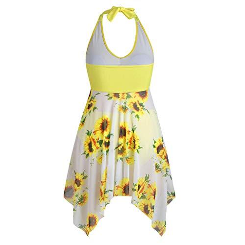Mujeres más tamaño girasol impreso halter tanque irregular dobladillo traje de baño traje de baño de dos piezas ropa de playa acolchado traje de baño