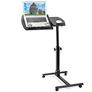 Dawoo Mesa Móvil con Ruedas para Computadora Portátil Mesa Ajustable con Soporte para Computadora Portátil, Ajuste De Altura De Lata De 60 Cm a 90 Cm, Giro De 360 ° e Inclinación De 180 °(Negro)