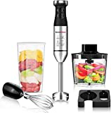 Bonsenkitchen Hand Blender, 3-in-1 Stainless Steel Hand Immersion Blender Set, Stick Blender with Beaker and Food Processor, Stainless Steel Blade, Egg Whisk for Smoothies, Soups, Sauces, Baby Food