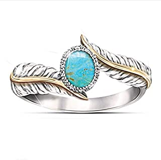moahhally Magnificent Women's Jewelry 925 Sterling Silver Turquoise Feather Ring Oval Cut Party Band Rings Size 5-10(10,Blue)