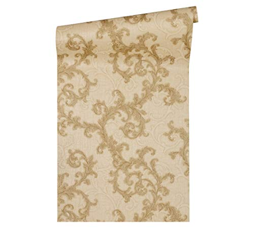 Versace wallpaper vliesbehang Baroque & Roll luxe behang met ornamenten barok beige, metallic