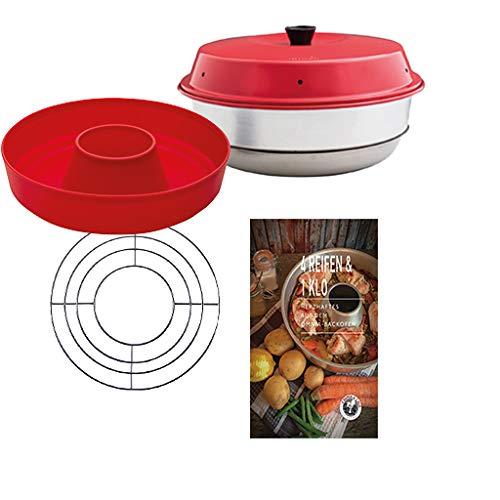 Omnia Backofen 4-teiliges Spar-Set | Backofen + Silikon-Backform 2.0 + Herzhaftes Kochbuch + Aufbackgitter