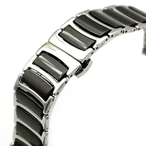 ZXF Correa Reloj, Simple y con Estilo Strap de Acero Inoxidable y Mujer de 20 mm / 22 mm Correa de cerámica en Blanco y Negro Pulsera (Band Color : Negro, Band Width : 22mm)