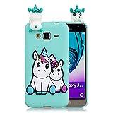 Funluna Funda Samsung Galaxy J3 2016, 3D Unicornio Patrón Cover Ultra Delgado TPU Suave Carcasa Silicona Gel Anti-Rasguño Protectora Espalda Caso Bumper Case para Samsung Galaxy J3 2016
