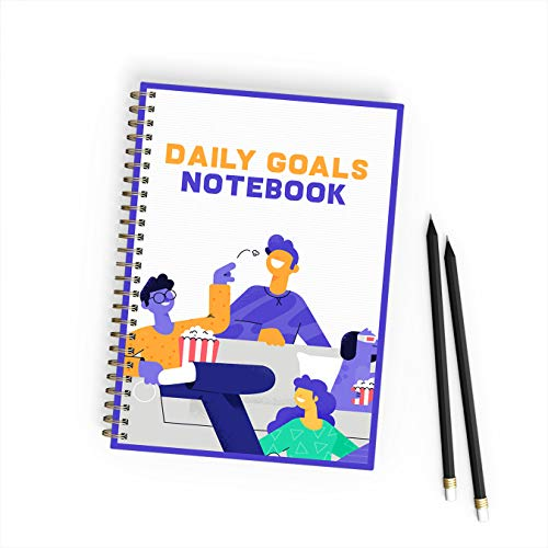 (No. 84) Notebook for daily goal: has an image of three people and a dog watching TV. Paperback, size 6x9 inch, 200 pages thick. (English Edition)