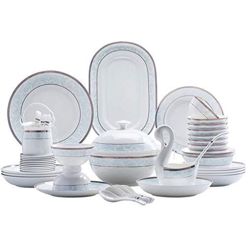 YANJ Juegos de vajilla de cerámica, Estilo Europeo Elegance Juego de vajilla de 58 Piezas Tazón/Cuchara/Plato - Platos de Restaurante para Fiestas Familiares y Cocina
