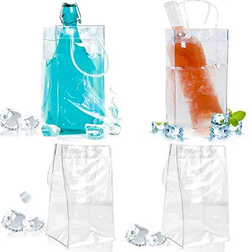 Senteen Bolsa De Hielo para Botellas, 4pcs Bolsa De Vino Personalizada Ice Bag Transparente Botella De Hielo Bolsa De Refrigeración Herramientas De Cocina, para Champagne Cerveza Fría Bebidas