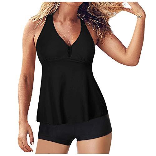 MOMOEW Frauen Tankini Badeanzug Bauch Control Top Mit Shorts Zweiteiligen Badeanzug Blumendruck Bikini Set(A-Schwarz,L)
