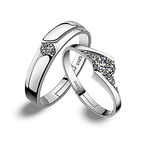 Simsly Juego de anillos de boda de plata de ley con circonita cúbica de platino y anillo de compromiso ajustable para mujeres y niñas