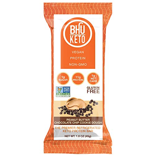 BHU Keto Bars - Peanut Butter Chocolate Chip Cookie Dough Refrigerated Protein Snacks (8 pack) - Made Fresh Daily With Natural and Organic Ingredients - Low Carb, Vegan, Gluten-Free and Non-GMO