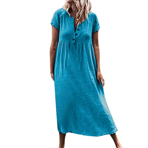 WUSIKY Leinenkleid Damen Sommerkleid GroßE GrößEn Kaftan Kleid Lang Sommer Einfarbige V-Ausschnittline Roll Up Sleeve Splice Boho Strandkleid Maxikleid Elegant Leinenkleider (Blau, XXXL)