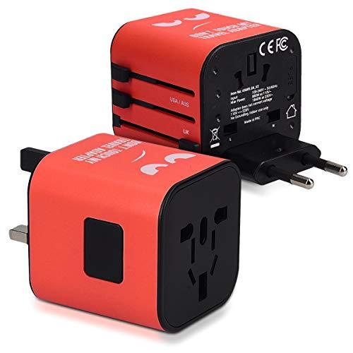 kwmobile Universal Reiseadapter für 150 Länder - Stromadapter Stecker Europa UK Australien USA - Weltreise Reisestecker Rot - Don\'t Touch Design