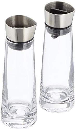 blomus -MACCHIATO- Zucker & Sahne Set aus Glas, 180 ml Fassungsvermögen, Edelstahldeckel, für Tee- und Kaffee, hochwertige Verarbeitung, exklusive Optik (H / B / T: 17 x 5,4 x 5,4 cm, Klar, 63510)