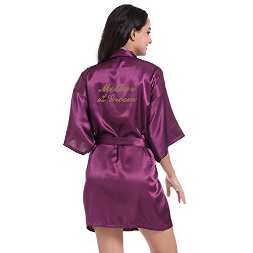 HOHH Vestido Mujer Madre del Novio Estampado Oro Vestidos Satén Kimono Bata,...