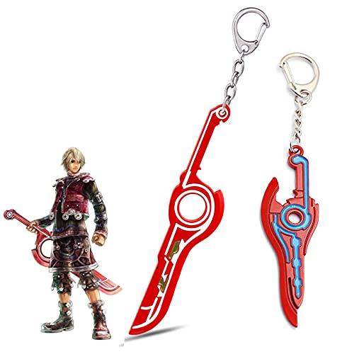 ZYLL Regalo del día del padre llavero espada roja Monado colgante de metal llavero bolso encanto llavero juego de coche joyería