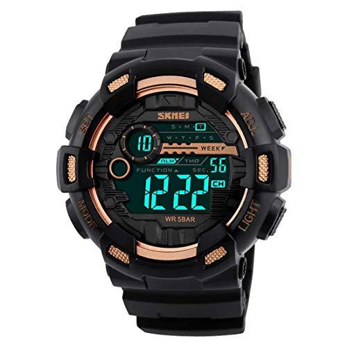 SKMEI, orologio sportivo nero da uomo con LED digitale, antiurto e dual time, per attività all'aria aperta (layout in lingua italiana non garantito)