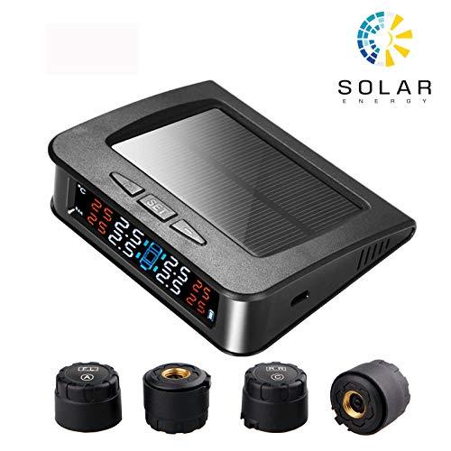 Spurtar Reifendruckkontrollsystem RDKS - Kabelloses Reifendruck Kontrollsystem TPMS Tire Pressure Monitor mit 4 Kappensensoren Echtzeit-Alarmsystem für Auto, SUV, KFZ