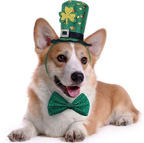 St Patricks Day Dog Costume – St. Patty's Day Doggie Headband and Green Bow Tie Kit