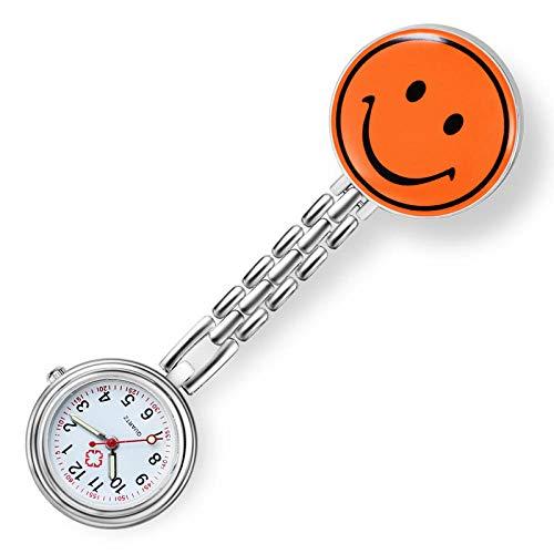 Reloj de paramédico Doctor,Reloj de Bolsillo de Moda de Dibujos Animados, Lindo Reloj de Pecho Sonriente, Naranja,Relojes de Doctor Enfermera