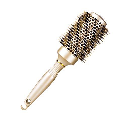 Runde Haarbürste Nano Thermische Keramik-Fass mit Natürlichen Wildschweinborsten zum Föhnen, Stylen der Frisur, zum Richten, erhöht das Haar-Volumen und Bringt Glanz,43mm