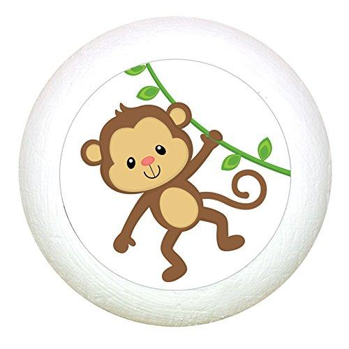 """Möbelknauf""""Affe"""" weiss Holz Buche Kinder Kinderzimmer 1 Stück wilde Tiere Zootiere Dschungeltiere Traum Kind"""