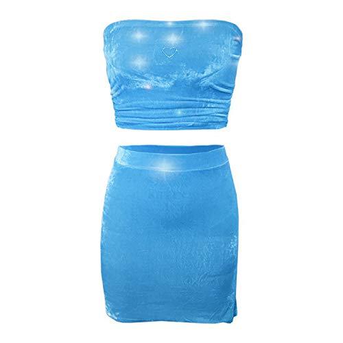 Damska spódnica biodrowa opaska na piersi garnitur jednokolorowa osobowość mody seksowna krótka sukienka garnitur na imprezę i randkiXL