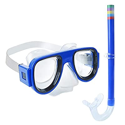 Greenlf Kids Snorkel Set, Children Dry Top Snorkeling Mask, Swimming Goggles with Snorkels Anti Leak Diving Gear Packages for Age 4 Plus,Youth Junior Boys Girls (Blue)