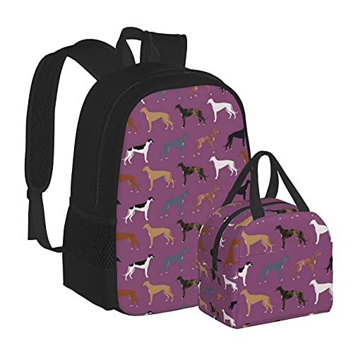 Greyhounds niedlicher Hund Rettungshund Schultasche Büchertasche Rucksack mit Lunchbox-Set Kombination geeignet für Teenager Jungen Mädchen Reisen Camping Jugendrucksack