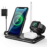 4 in 1 Wireless Charging Station for Apple Products, Apple Watch Charger with Qi-Certified 15W Charging Dock for Multiple Devices, iPhone Charging Station Compatible with Apple Watch& Airpod & Pencil