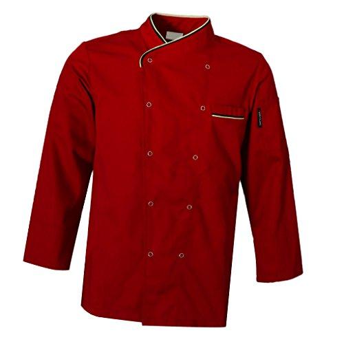 IPOTCH Chaqueta de Chef Uniforme de Cocinero Ropas de Camarero de Mangas Largas para Hombre Mujeres - Rojo, M